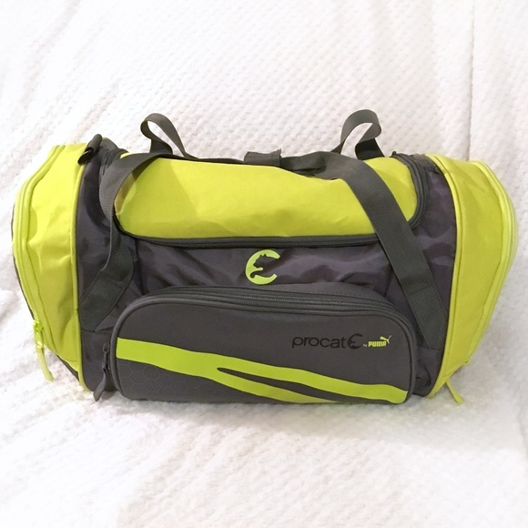 be203ca7a2e1 Puma Procat Grey   Yellow Duffel Gym Tote Bag. M 5ac3d9ee00450f00a0dbaa1d